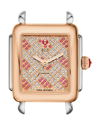 16mm Deco Diamond & Pink Topaz Watch Head, Two-Tone