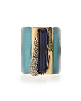 Ombre Cabochon Striped Cocktail Ring