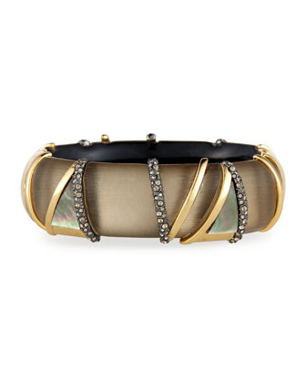 Banded Mother-of-Pearl Lucite Hinge Bracelet