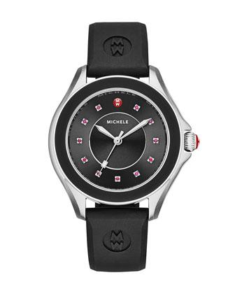 Cape Topaz Watch with Silicone Strap, Black