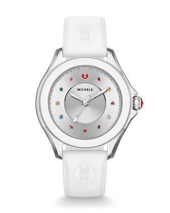 Cape Topaz Watch with Silicone Strap, White