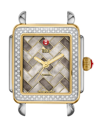 16mm Deco Cocoa Mosaic Diamond Watch Head, Two-Tone