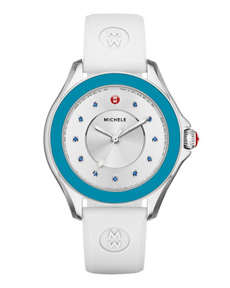 Cape Topaz Watch w/Silicone Strap, Blue/White
