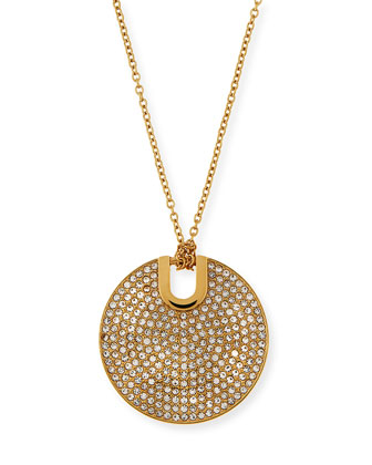 Pave City Disc Pendant Necklace