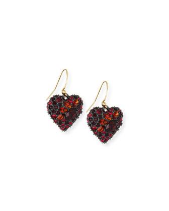 Encrusted Black Cherry Heart Earrings