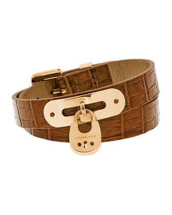 Double Wrap Padlock Leather Bracelet