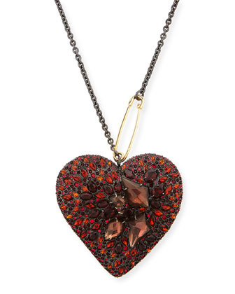 Lucite Double-Sided Crystal Heart Necklace, Black Cherry