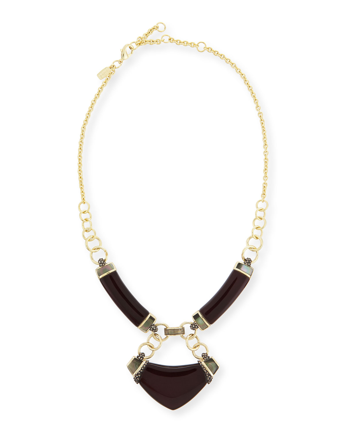 Lucite Linked Corset Bib Necklace, Black Cherry - Alexis Bittar