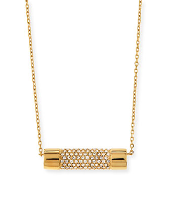 City Pave Barrel Pendant Necklace