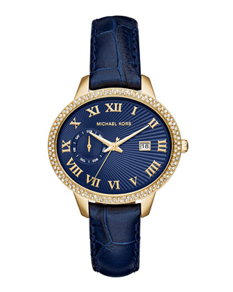 41mm Whitley Leather-Strap Glitz Watch, Navy
