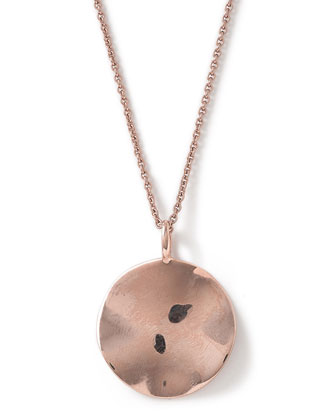Rose Glamazon Wavy Disc Pendant Necklace