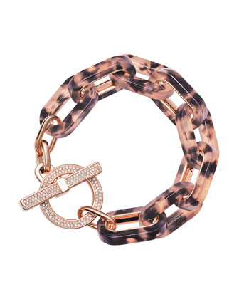 Tortoise Link Pave Toggle Bracelet