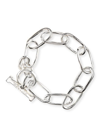 Silver Glamazon Elongated Oval Link Toggle Bracelet