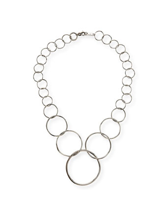 Silver Glamazon Graduated Wavy Circle Necklace