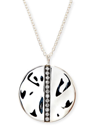 Sterling Silver Senso™ Large Station Disc Pendant Necklace with Diamonds