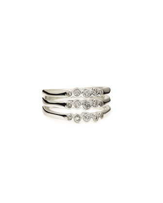 Silver Glamazon Stardust Triple Band Ring with Diamonds