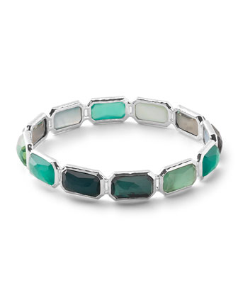 925 Wonderland Brick Bangle Bracelet, Neptune