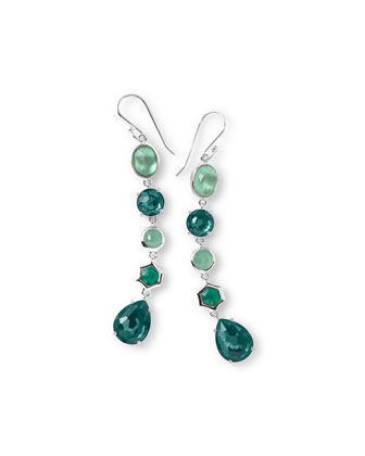 925 Rock Candy 5-Stone Linear Earrings, Neptune