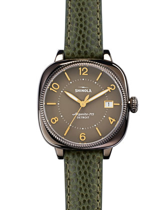 36mm Gomelsky Watch with Leather Strap, Green