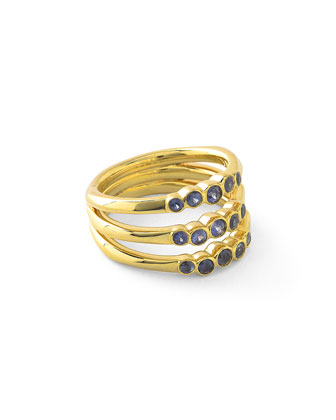 18k Glamazon Stardust Bezel-Set Triple Sapphire Ring