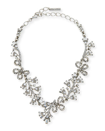 Floral Baguette Crystal Necklace