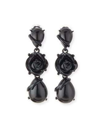 Resin Flower Drop Clip Earrings