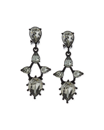 Pear Crystal Drop Clip Earrings