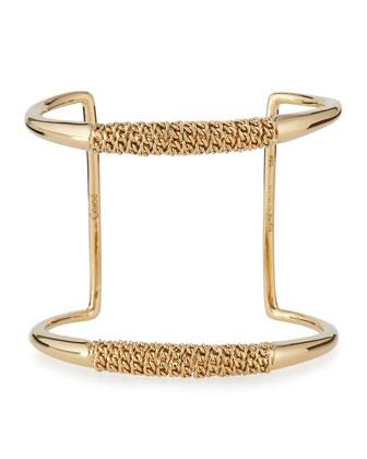 Chain-Wrapped Open Cuff Bracelet