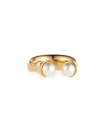 Darcey Brass Open Pearly Ring