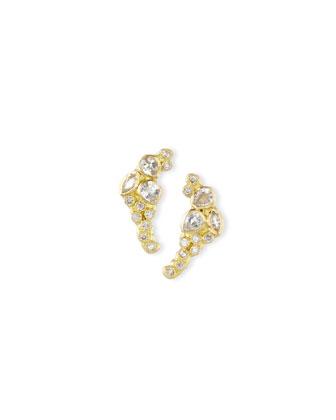 Sue�o 18k Petite Cluster Climber Earrings
