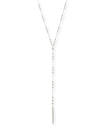 Silver-Dipped Bead & Spear Necklace