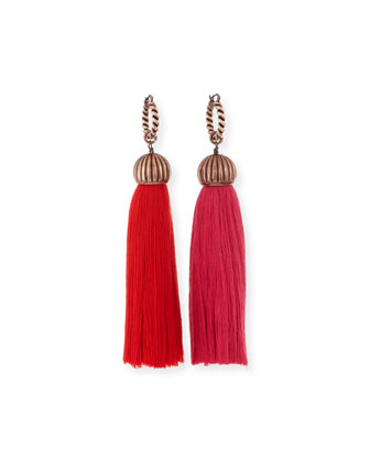 Tassel Drop Earrings, Red/Pink