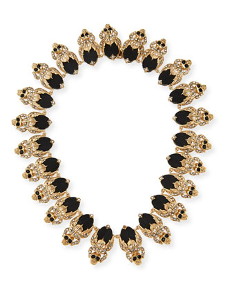 Crystal Skull Link Necklace, Black