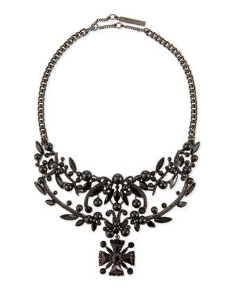 Jet Crystal Bib Necklace, Black