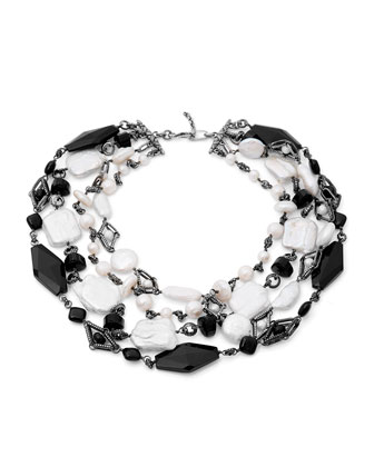 Verona Agate and Pearl Choker Necklace