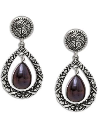 Purple Pearl Engraved Drop Earrings