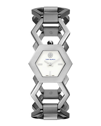 Amelia Silvertone Hexagon-Link Bracelet Watch