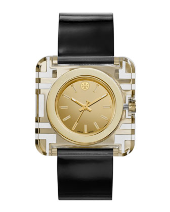 Izzie Leather-Strap Golden Watch, Black