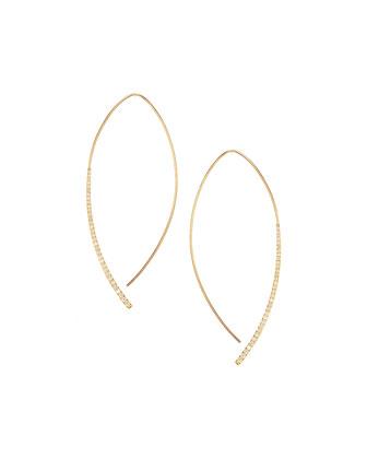 14k Small Electric Arch Diamond Hoop Earrings
