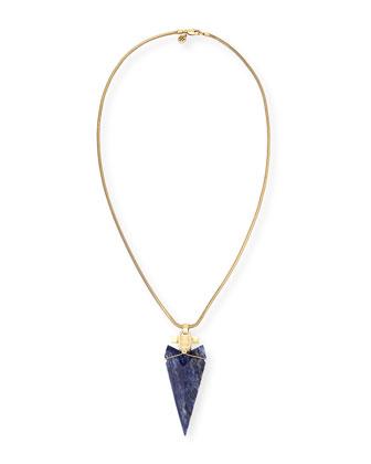 Sodalite Arrowhead Pendant Necklace, 32