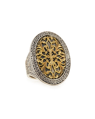 Silver & 18k Gold Filigree Top Oval Ring