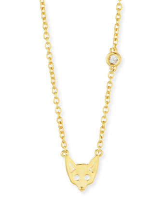 Fox Bezel-Diamond Pendant Necklace