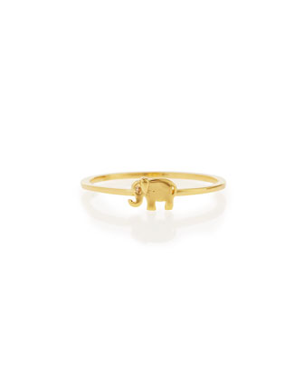Bezel Diamond Elephant Ring, Yellow Gold Plate