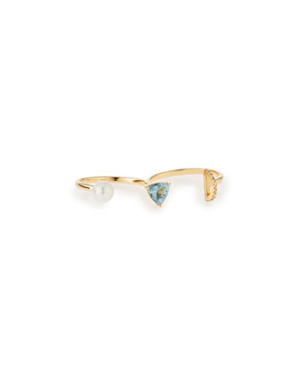 Marta Aquamarine & Pearl Double Ring