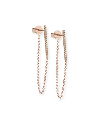 Diamond Bar and Chain Stud Earrings