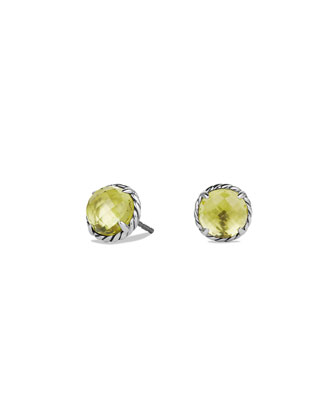 8mm Chatelaine Lemon Citrine Button Earrings
