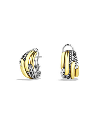 18K Gold Labyrinth Huggie Earrings