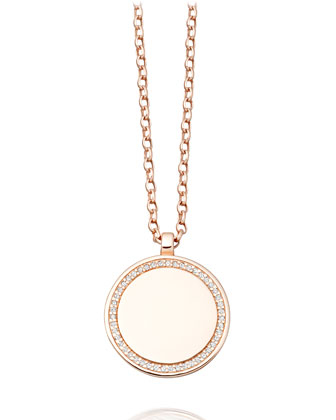 Cosmos 14K Rose-Gold Pavé Diamond Locket Necklace, 22