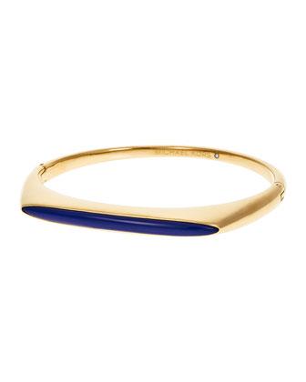 Tribal Hinged Bangle Bracelet, Golden/Lapis