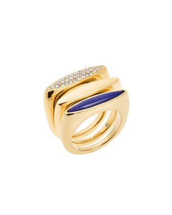 Pave Crystal 3-Ring Set, Golden/Lapis